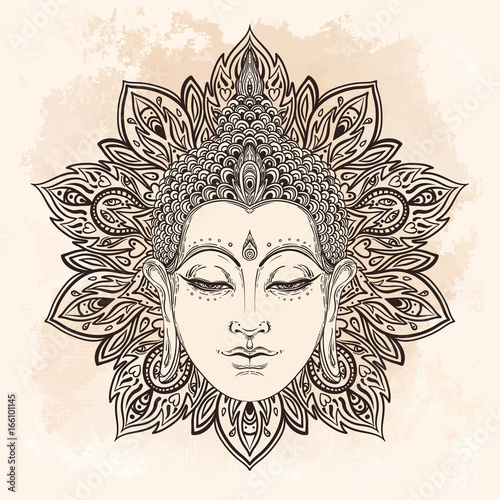 Stampa su Tela Buddha face in ornate mandala round pattern over beige vintage background