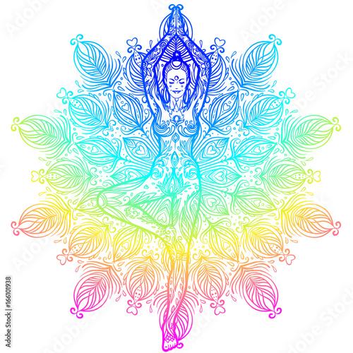 Pretty girl in lotus pose over ornate round mandala pattern Canvas Print