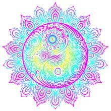 Yin Yang Harmony Sign Over Ornate Mandala Round Pattern. Vector Illustration. Vintage Decorative Zentangle Composition. Indian, Buddhism, Spiritual Motifs.
