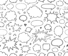 Seamless Pattern. Hand Drawn Set Of Speech Bubbles