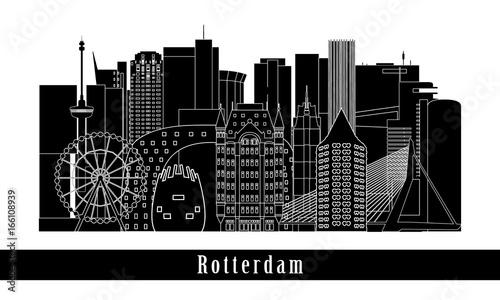 Staande foto Rotterdam Rotterdam cityscape building line art design. Vector illustration.