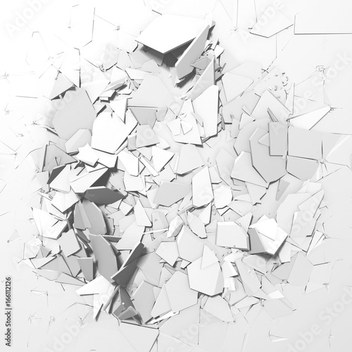 Fotografie, Obraz  Abstract destruction white surface