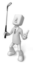 3D Business Man Mascot Golfer ...