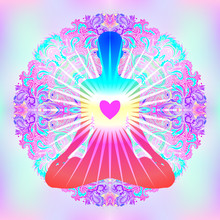 Heart Chakra Concept. Inner Love, Light And Peace. Silhouette In Lotus Position Over Colorful Ornate Mandala. Vector Illustration Isolated On White. Buddhism Esoteric Motifs.