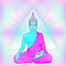 Sitting Buddha Over Sacred Geo...