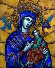 Naklejka Witraże sakralne Mary with baby Jesus (Icon)