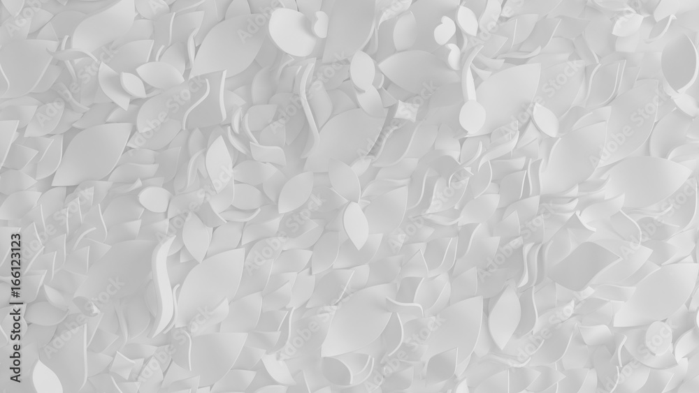 Beautiful, elegant paper flower in the style of hand-made on a white wall. 3d illustration, 3d rendering.