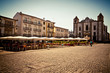 Wide angle shot of the Giraldo Square in Evora, Portugal on a sunny summer day