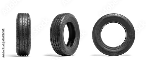 Fotografiet  New car tires isolated on white background