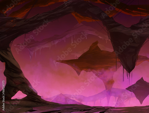 Illustration of the underground world with hills and rocks flying and glowing purple lights.