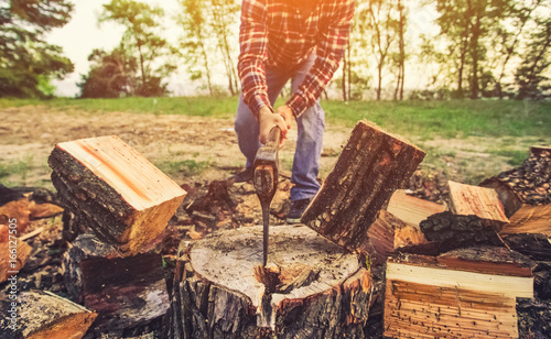 Fényképezés Male Lumberjack in the black-and-red plaid shirt with an ax chopping a tree in the forest
