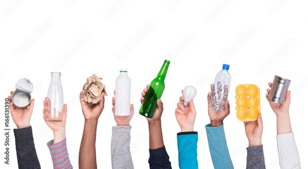 Fototapeta Trash samples in hands isolated on white background