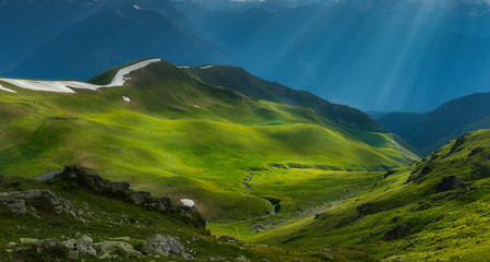 Green river valley in beams of evening sun. Caucasus mountains.