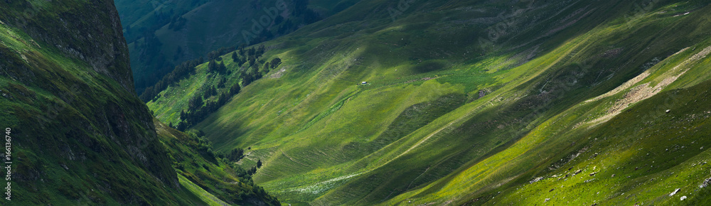 Fototapety, obrazy: Picturesque mountain emerald valley of river Zagedanka. Caucasus mountains.