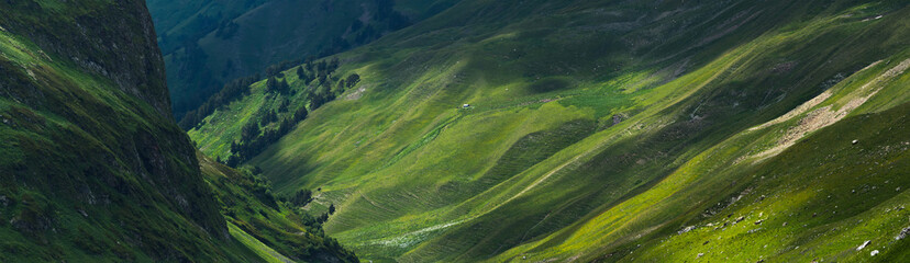 Picturesque mountain emerald valley of river Zagedanka. Caucasus mountains.
