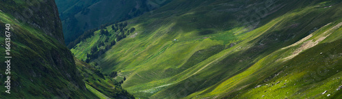 Fototapeta Picturesque mountain emerald valley of river Zagedanka. Caucasus mountains. obraz na płótnie