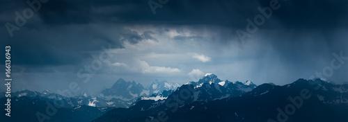 Poster Bleu nuit Mountain landscape before storm. Mounts Sofiya and Karakaya. Caucasus Mountains.