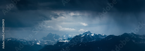 Foto auf AluDibond Blaue Nacht Mountain landscape before storm. Mounts Sofiya and Karakaya. Caucasus Mountains.