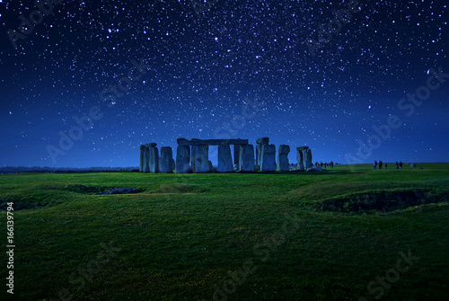 Fotografie, Obraz Starry Night Stonehenge - one of the wonders of the world and the best-known pre