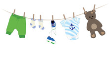 Baby Boy Clothes Illustration