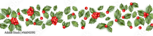 Fotografia Seamless border from Christmas holly berry. EPS 10 vector