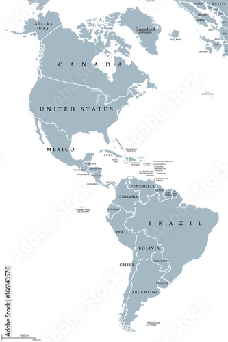 Fényképezés  The Americas political map with countries and borders of the two continents North and South America