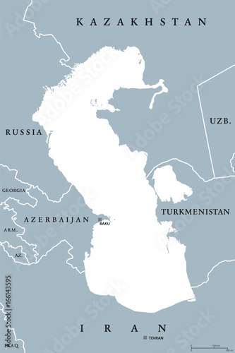 Caspian Sea Region Political Map With Borders And Countries Body Of