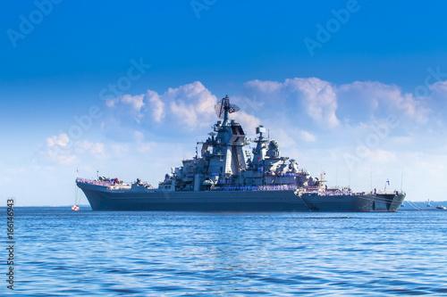 Plakat Okręt wojenny. Krążownik rakietowy. Okręty wojenne
