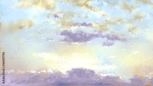Printed kitchen splashbacks Light blue Sky. Paintings landscape. Digital oil.