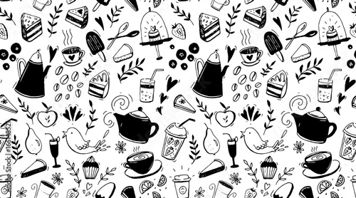 coffee-tea-and-desserts-seamless-pattern-black-and-white-background-with-food-for-cafe-design