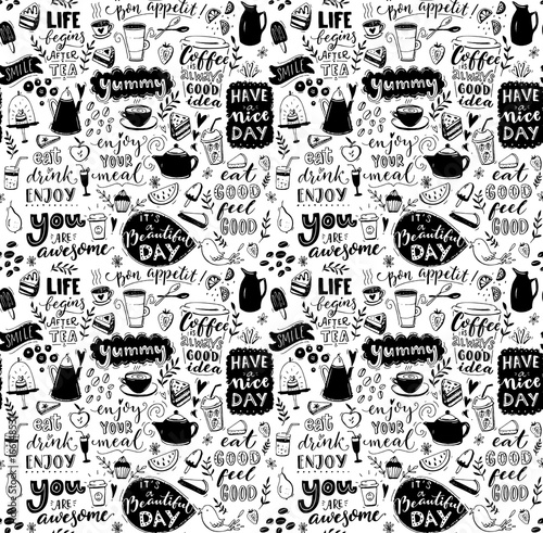 Cafe Seamless Pattern Hand Drawn Tea And Coffee Pots Desserts Inspirational Captions