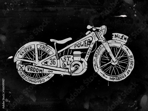 Photo  Hand drawn Silhouette of vintage motorcycle filled with text