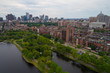 Aerial residential neighborhood boston