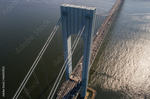 Stampa su Tela  Aerial image of the Verrazano Narrows Bridge New York
