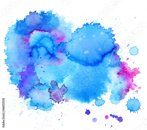 Colorful abstract watercolor texture stain with splashes and spatters Canvas Print