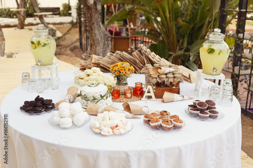 Pleasant A Festive Round Table Setting With A Lot Of Sweets Muffins Complete Home Design Collection Epsylindsey Bellcom