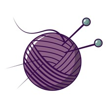 Yarn Ball Icon, Cartoon Style