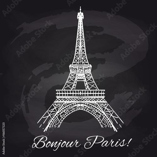 Francuski chalkboard plakat z wieżą eifla i dekoracyjnymi elementami, wektorowa ilustracja