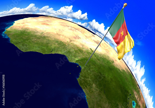 Cameroon national flag marking the country location on world map. 3D ...