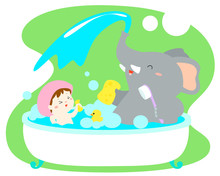 Little Girl Take A Bath With Elephant In Tub Vector.