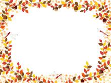 秋の紅葉植物のフレーム素材