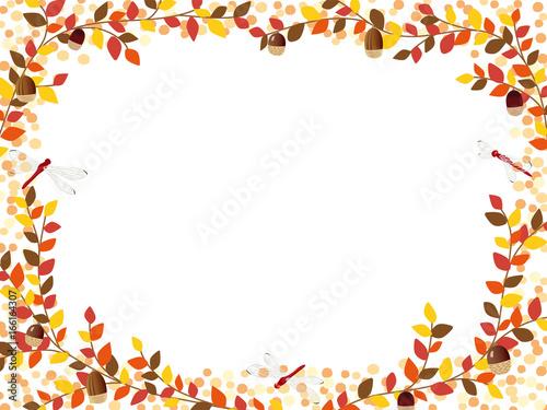 Fotografie, Obraz  秋の紅葉植物のフレーム素材