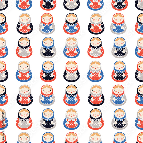 Russian dolls seamless pattern
