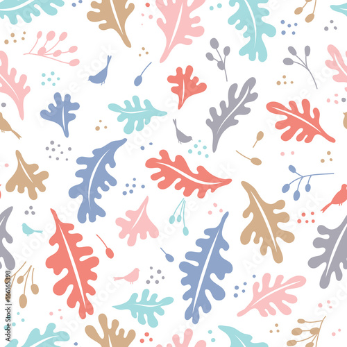 Colorful vector floral pattern with leaves