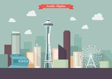 Seattle Skyline Vector Illustr...