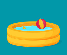 Inflatable Pool Vector. Flat D...