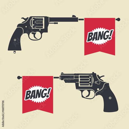 Photo Shooting toy gun pistol with bang flag vector icon