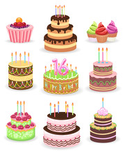 Birthday Cake Set Isolated On White Background. Tasty Anniversary Party Cakes With Candles And Chocolate Vector Illustration For Greeting Cards