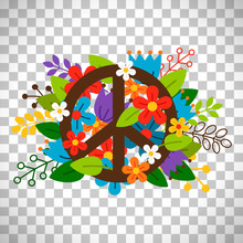 Peace Symbol With Flowers