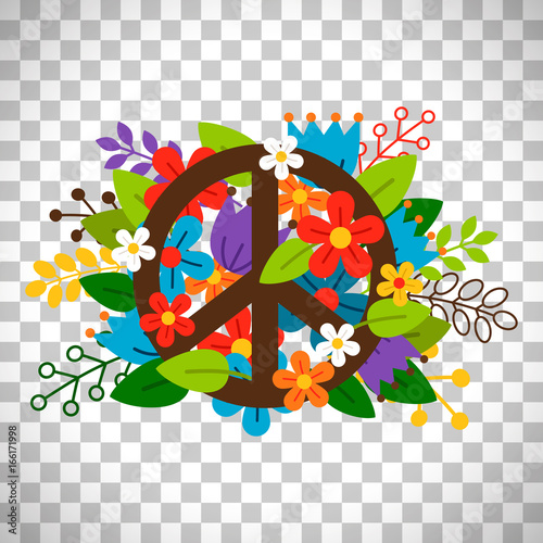 Foto  Peace symbol with flowers